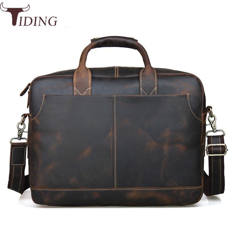 7358d9ee371a Tiding Luxury Designer Handmade Leather 14 Inch Laptop Briefcase Men  Business Dress Office Bag Satchel Messenger Bag Brown 1019 Vintage  Briefcase Leather ...