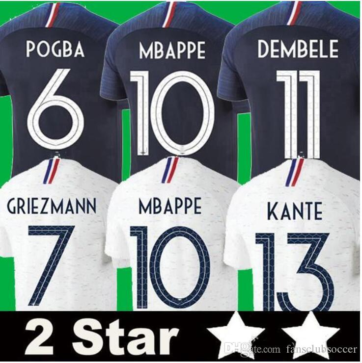 71c4a2585 2018 Fr 2018 World Cup Champion Two Stars Soccer Jerseys MBAPPE GRIEZMANN  POGBA PAYET  8 Jersey 2019 FR De Foot Football Shirts Best Quality From ...