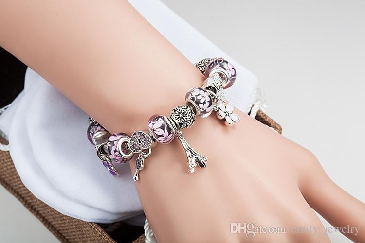 New Silver plated Pandora Bracelets For Women Royal Charm Bracelet pink Crystal Beads Diy love bracelets bangles with logo 18 19 20 21cm