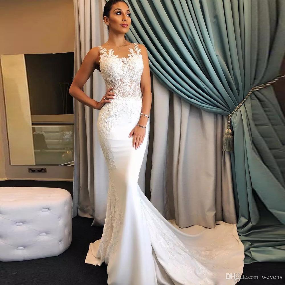 f6aa2545d Compre Vestidos De Novia Con Cola De Pez Blanco Elegante Jewel Neck Ilusión  Satén Capilla De Sirena Vestido De Novia Barrer El Tren 2018 Vestido De  Novia A ...