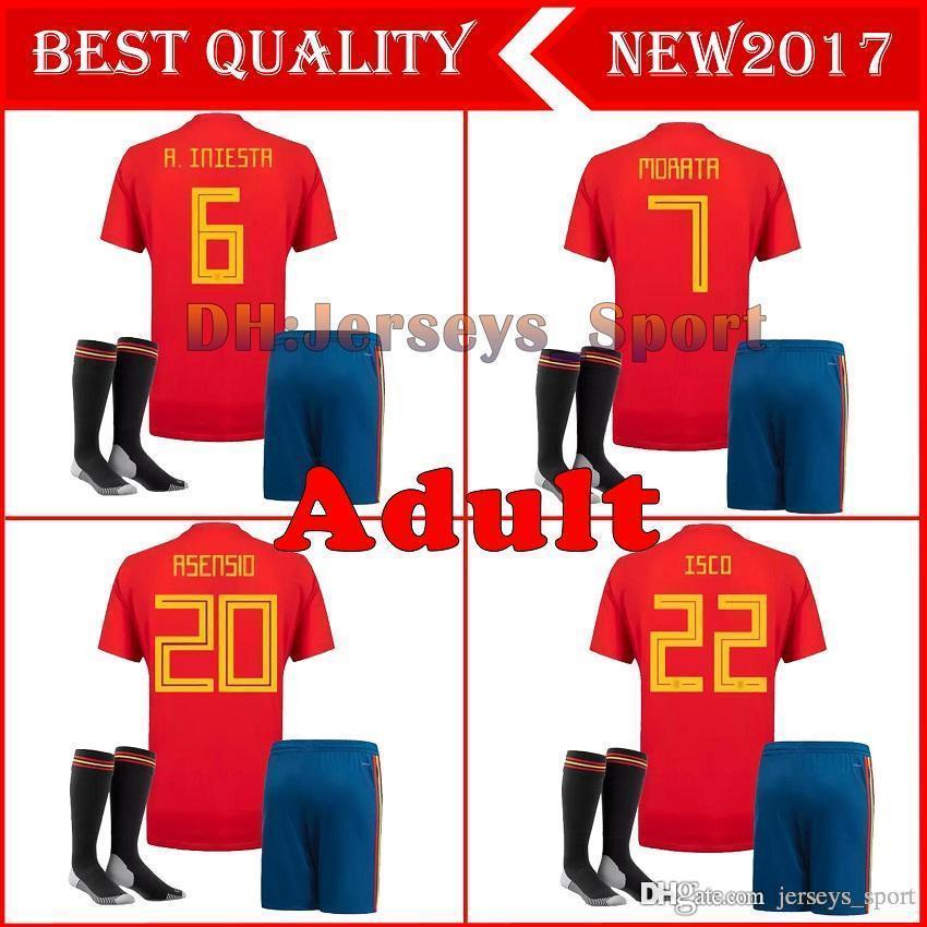 c214b42f999ae Compre España Home Jerseys 2018 Kits De Adulto Ramos Isco Asensio Thiago  Morata 17 18 19 Copa Del Mundo Espana Jersey Soccer Kit Camiseta Uniformes  De ...