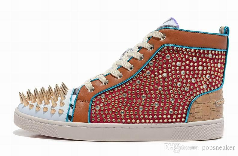 New fashion men boots mixed studded studs high top spikes flat genuine leather sneaker rivets red bottom shoes online