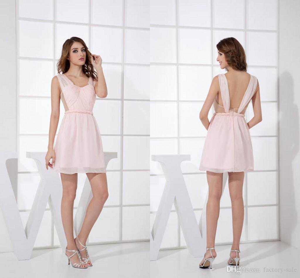 de09edf63ff Sexy Light Pink Chiffon Cheap Short Bridesmaid Dresses Pleats Backless  Formal Maid Of Honor Dresses Wedding Guest Gowns WD2 005 Discount Wedding  Gowns ...