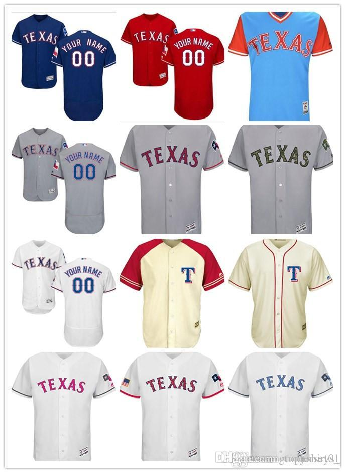 huge discount 3d413 96f47 custom Men women youth Majestic Texas Rangers Jersey #00 Any Your name and  your number Home Red Blue Kids Girls Baseball Jerseys