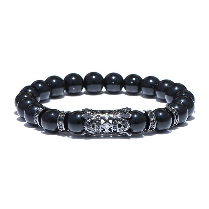 2018 neue Ankunft Luxus Blume Männer Frauen Hand Armband Obsidian Kristall Armbänder Für Herren Frauen Strand Schmuck Pulseira Caveira