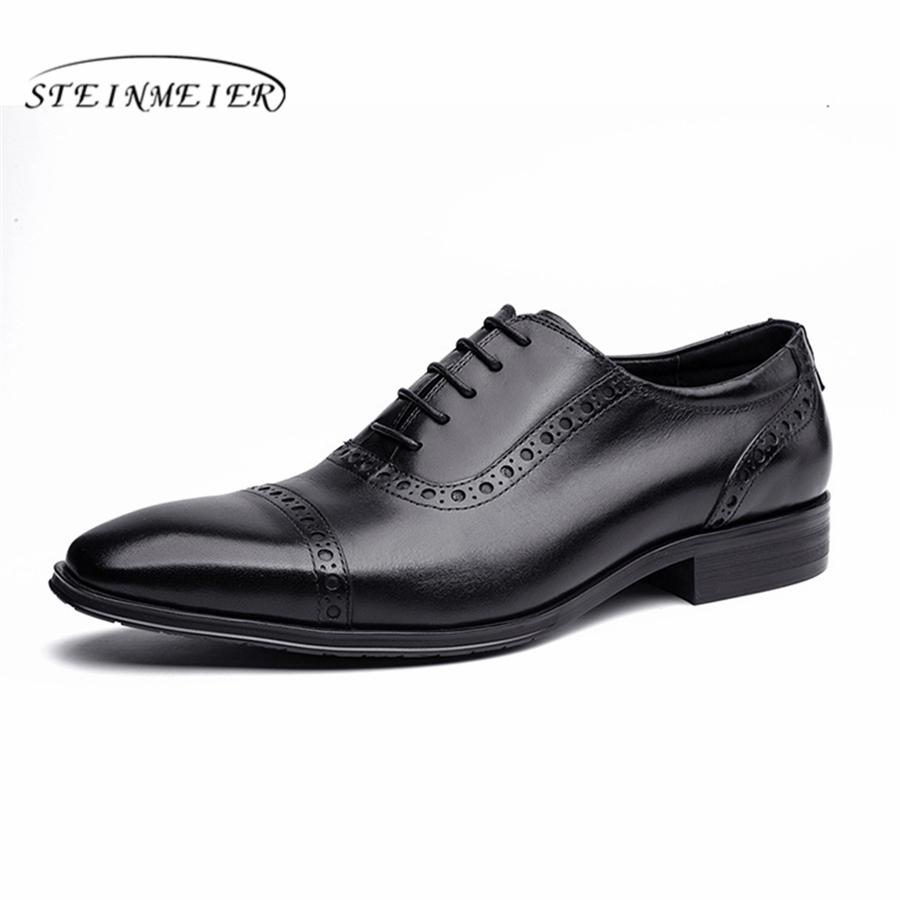 b3c551d69978b Genuine Cow Leather Brogue Wedding Shoes Mens Casual Flats Shoes Vintage  Handmade Oxford for Men Black Red 2019 Spring Formal Shoes Cheap Formal  Shoes ...