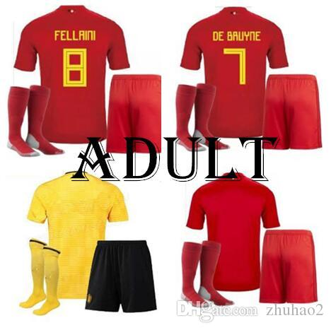 cdd322f223f 2019 2018 Belgium World Cup Jersey Full Set+Sock Home Away 18 19 LUKAKU  FELLAINI HAZARD KOMPANY DE BRUYNE Soccer Jersey Football Shirt From  Zhuhao2, ...