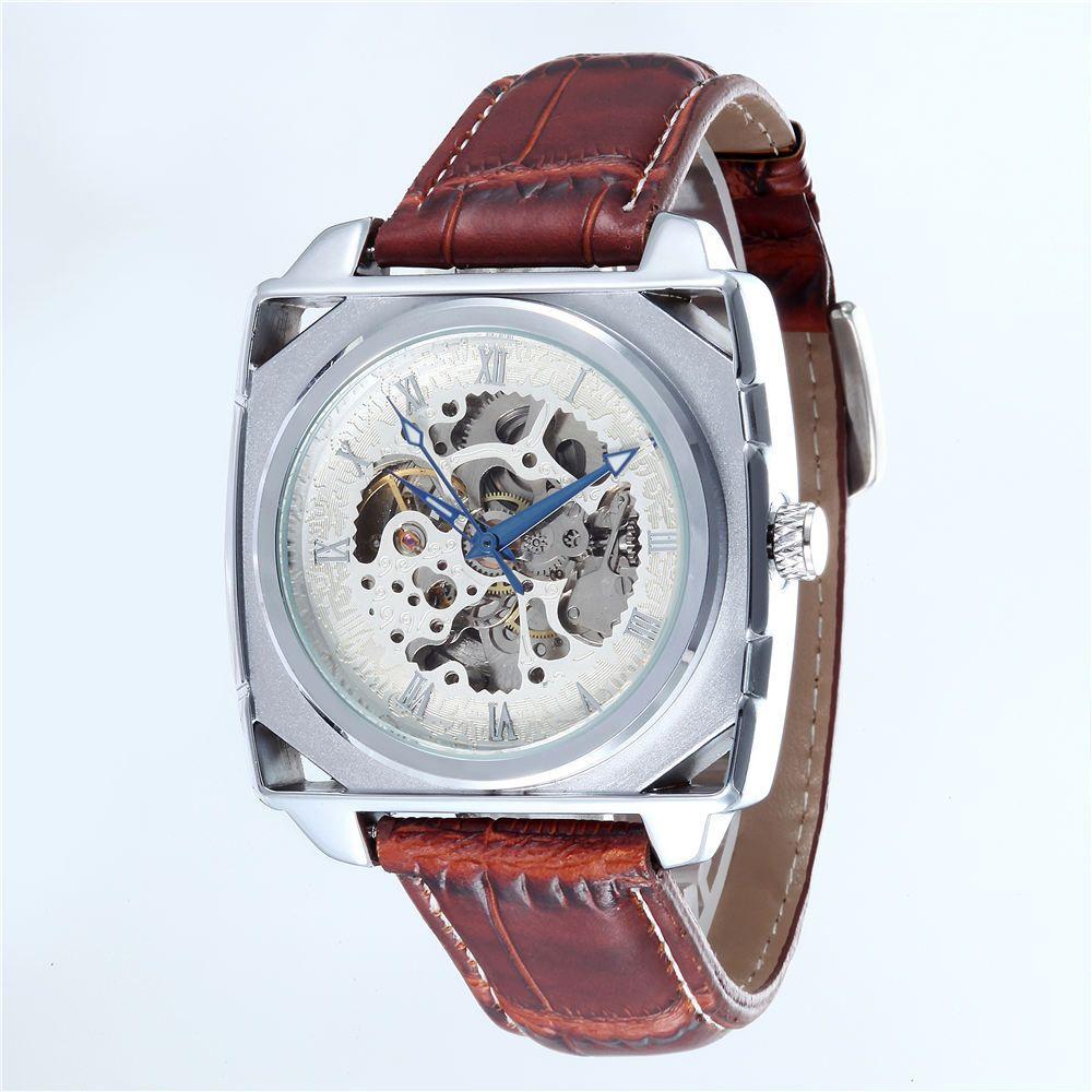 Compre Relogio Masculino Top Marca Homens Quadrado Mecânico Automático Relógios  Homens Da Moda Esqueleto Relógios Pulseira De Couro Reloj Hombre GOER De ... 5ea40cb434