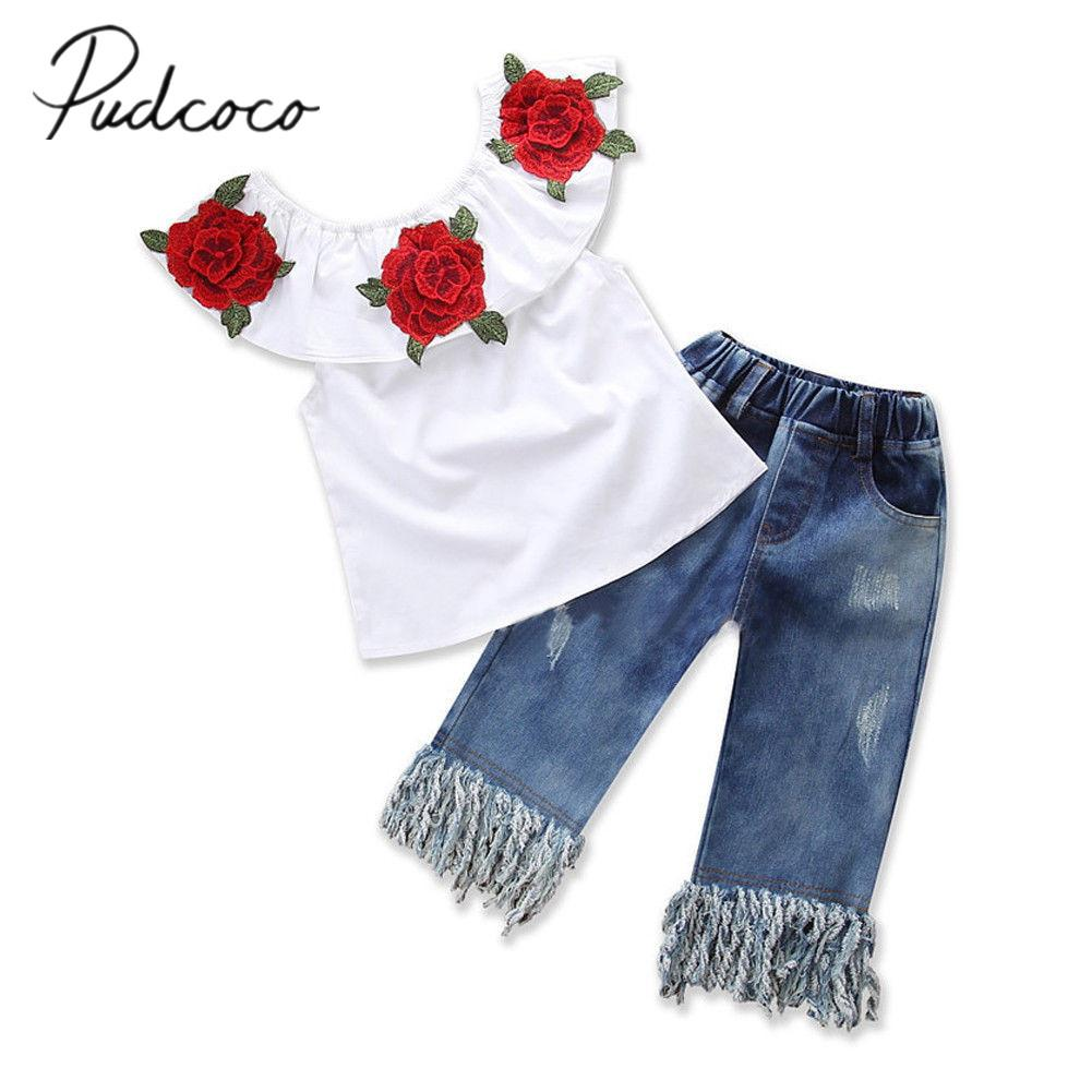 2018 Brand New Toddler Infant Kid Baby Girl Off Shoulder Top Shirt Tassel Ripped Denim Pants 2Pcs Outfit Flower Clothes 1-6T