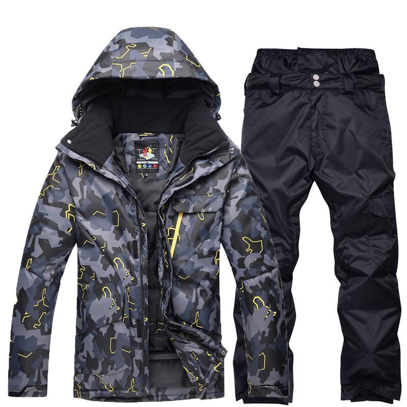 Acquista Nero Grigio Uomo Professionale Abbigliamento Da Snowboard Tuta Da  Sci Impermeabile Antivento Invernale Outdoor Costumi Giacche Da Neve +  Pantaloni ... df38e113414