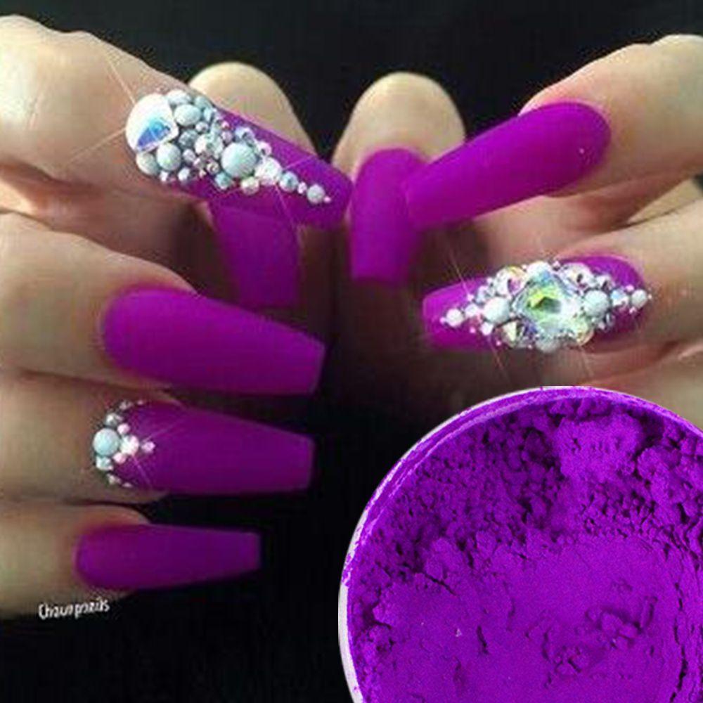 Fluorescent Nail Glitter Purple Nail Art Chrome Pigment Neon Powder ...