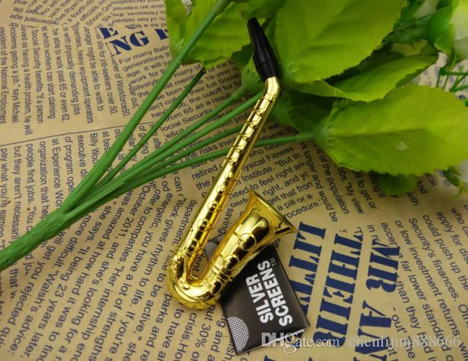 2018 IN STOCK Brand New Gold Saxophone design pipe handle spoon smoking pipe metal pipe