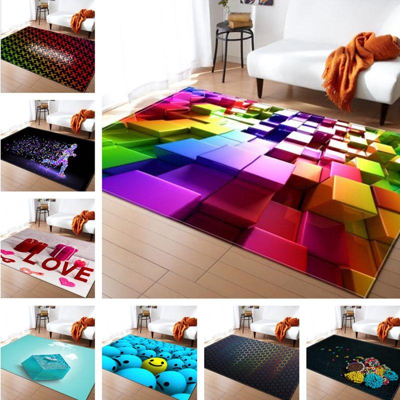 3D Colorful Soft Simple Style Carpets For Living Room Bedroom Soft Area Rug Home Floor Bedroom Carpet Decorate Living Room Kid Blanket