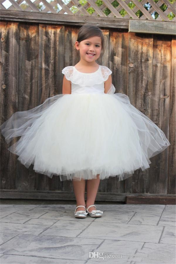 2018 White Tea Length Cheap Flower Girls Dresses For Wedding Party Tulle Cute Ball Gown Kids Formal Prom Wear