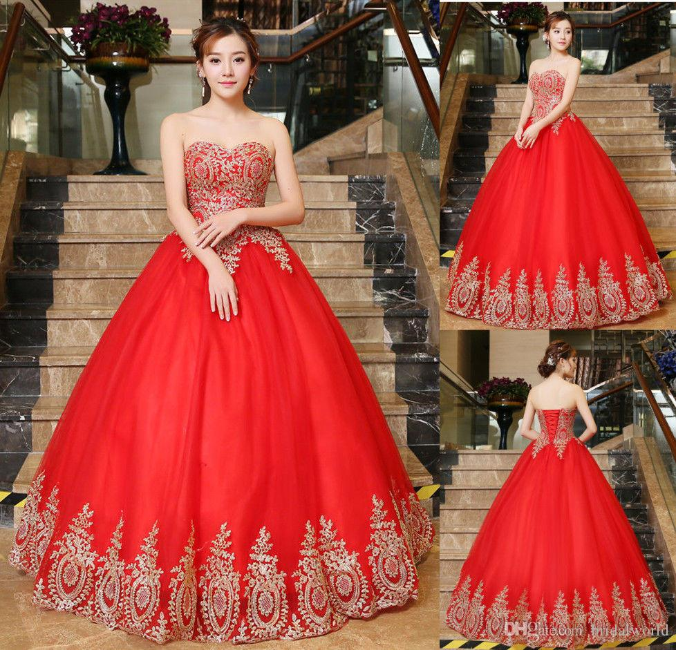 ed173cfd16b Elegant Red Quinceanera Dress Gold Lace Applique Sweet 16 Girl Pageant  Dresses Prom Ball Bridal Gowns Custom Canada 2019 From Bridalworld