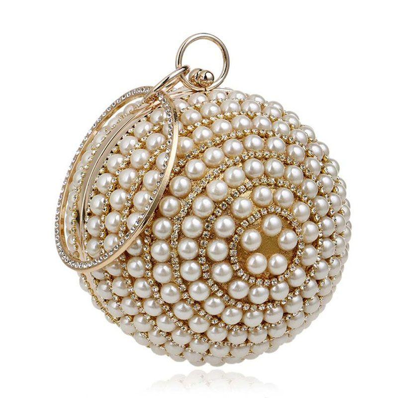 Women s Wristlet Round Ball Pearl Beaded Bag Diamond Tellurion Evening Bag  Bridal Wedding Wrist Clutches Purse Circular Bag Evening Bags for Women  Fashion ... 98126155a3bc