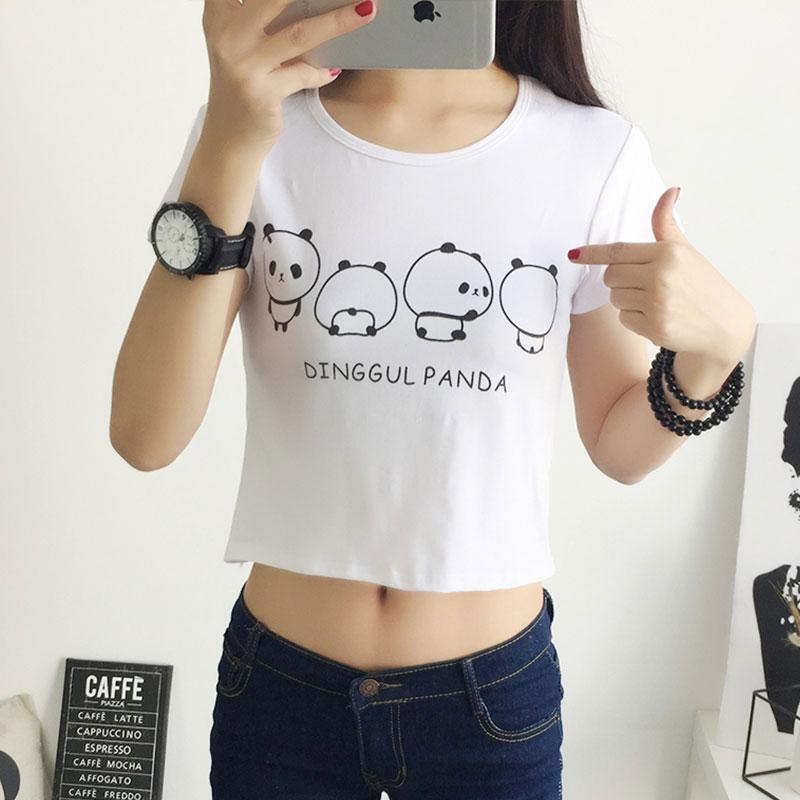bc665f60955038 2018 New Summer Women Crops Top T Shirt Tops Short Sleeve Tops Tees Casual  Crop Cotton Panda Print Tunic Basic Shirt White Good T Shirt Design Latest T  ...