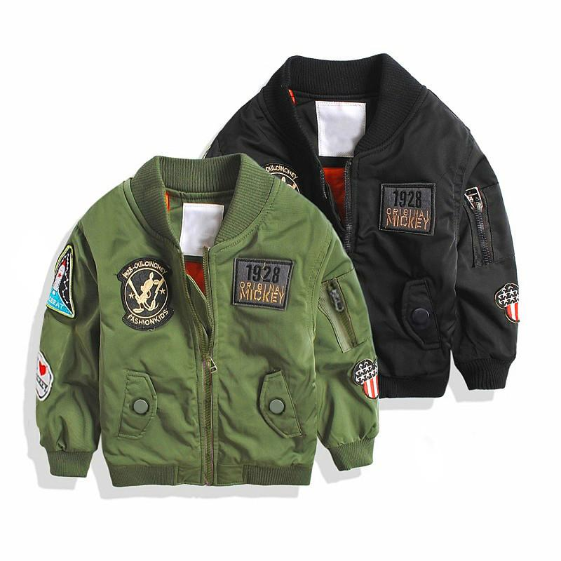 74d15b889377 Fashion Spring Autumn Jackets For Boy Coat Bomber Jacket Army Green ...