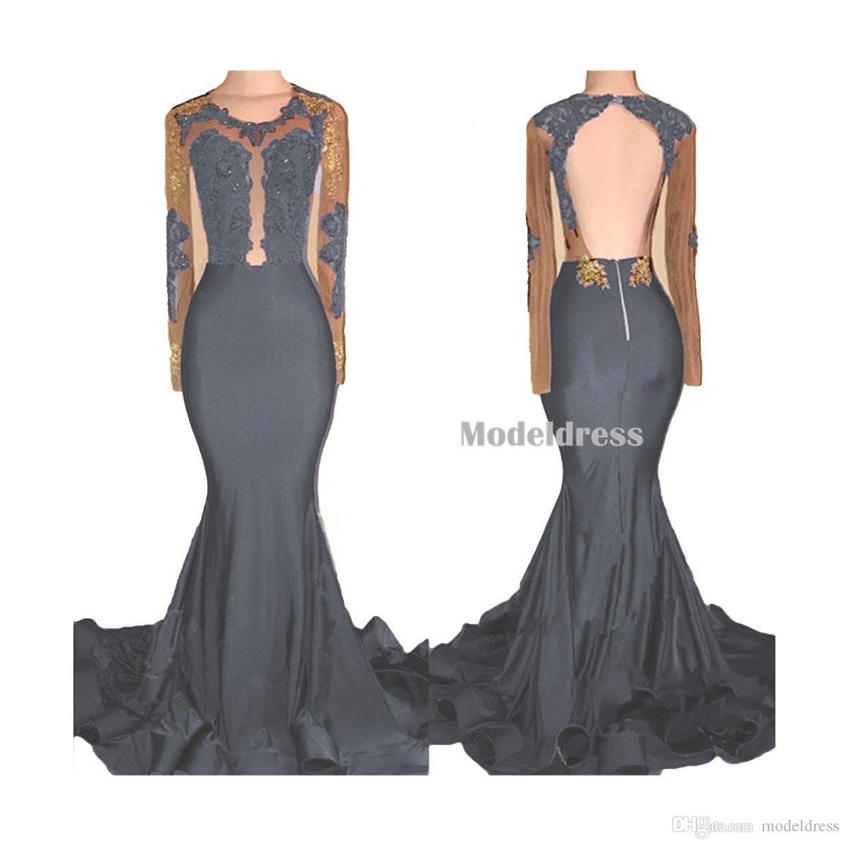 2018 vestidos de fiesta de sirena negros y dorados africanos mangas largas espalda abierta apliques cuentas de tren de barrido ver a través de los vestidos de fiesta de noche de Borgoña