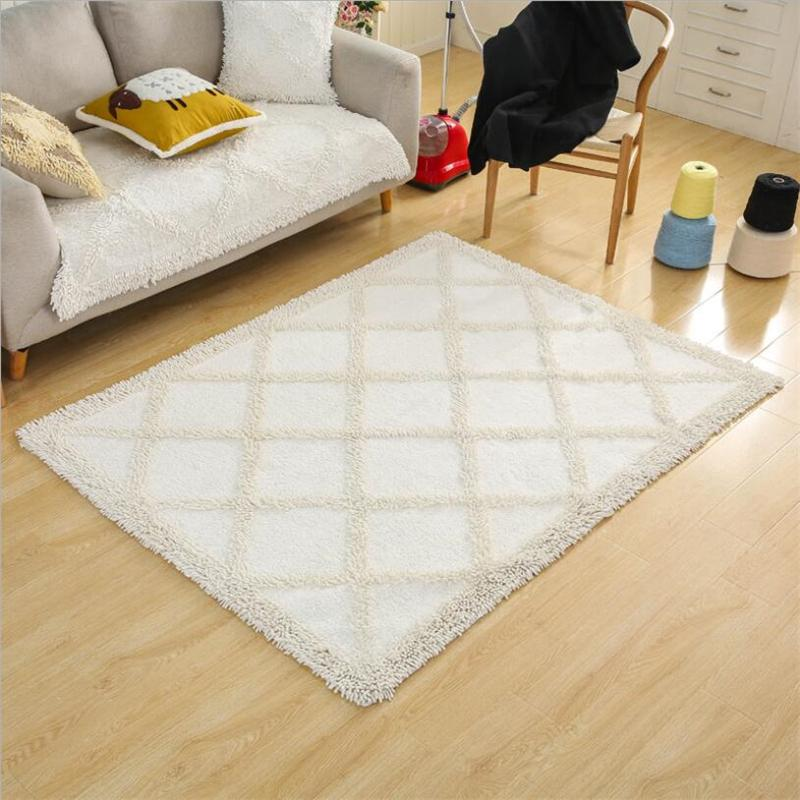 Simple Cotton Soft Hand Woven Design Carpets For Living Room Bedroom Kid Rugs Home Carpet Delicate Floor Door Mat Area Rug Designer Tiles