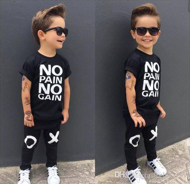 Art und Weisejungenklage Kleinkind scherzt Baby-Jungen-Ausstattungen schwarze heiße Kleidung Keine Schmerz keine Gewinnbuchstaben gedrucktes T-Shirt Top + XO Hosen kühle Kindsätze