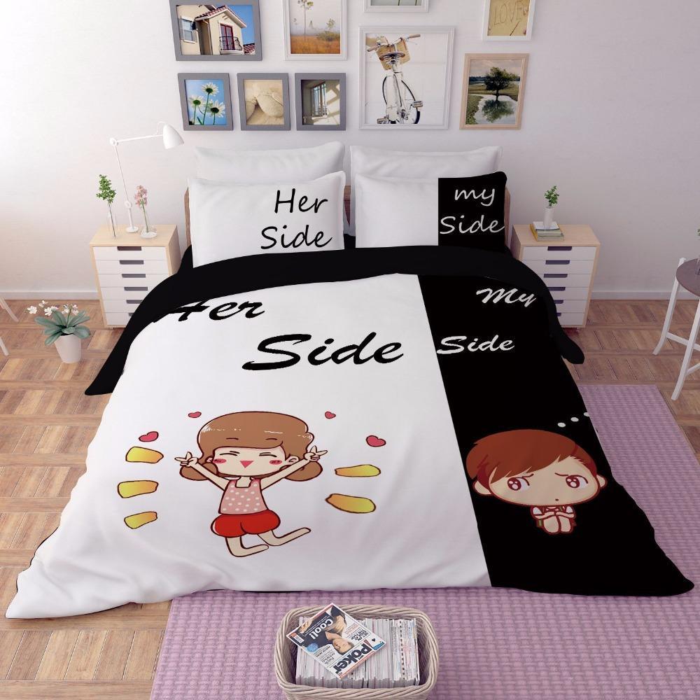 Großhandel Erwachsene Paar Bettwäsche Ihre Seite Seine Seite
