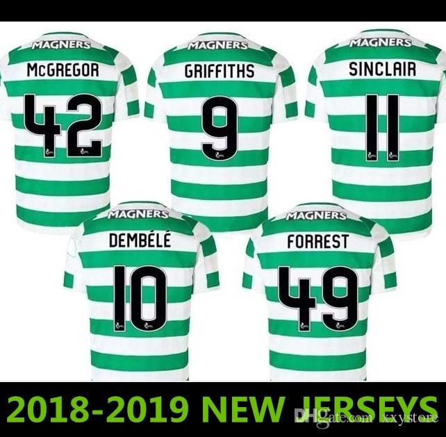 newest 6cade e0959 18/19 Celtic soccer Jerseys Home Soccer Jersey jersey Celtic Griffiths  dembele Sinclair Rogic McGregor Roberts Forrest Football shirt