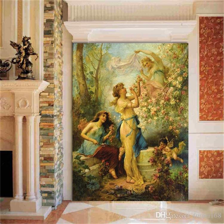 European Religion Angels Wall Mural Photo Wallpaper Living Room Entrance Wall Decor Customized Wallpapers On The Wall Home Decor