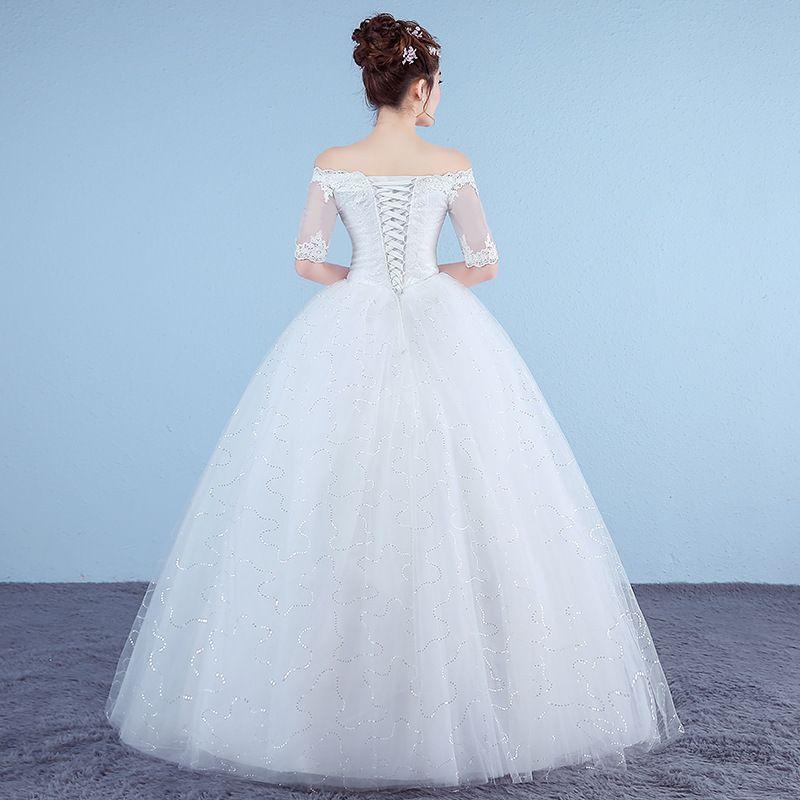 Customized White Princess Simple Wedding Dresses 2018 Appliques Lace Half Sleeve V-Neck Bridal Gown vestido de noiva Real Photo