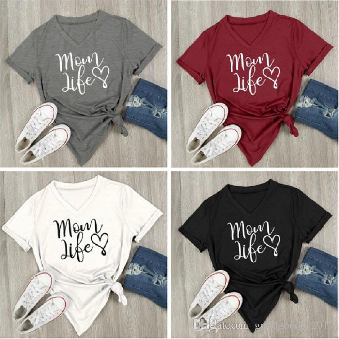 d0ad4c093 2019 Mom Life Heart V Neck Short Sleeve Letters Printed Casual Loose T Shirt  Top Tee Maternity Tops Mk240 From Goodgoods_2017, $5.26 | DHgate.Com