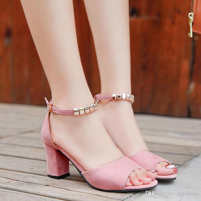 Mujeres Zapatos Verano Medio Tacón De Talones Altos Señoras Mujer Los Gruesos Elegante Las Sandalias Atractivas Cadena Metal JcT3Kl1F