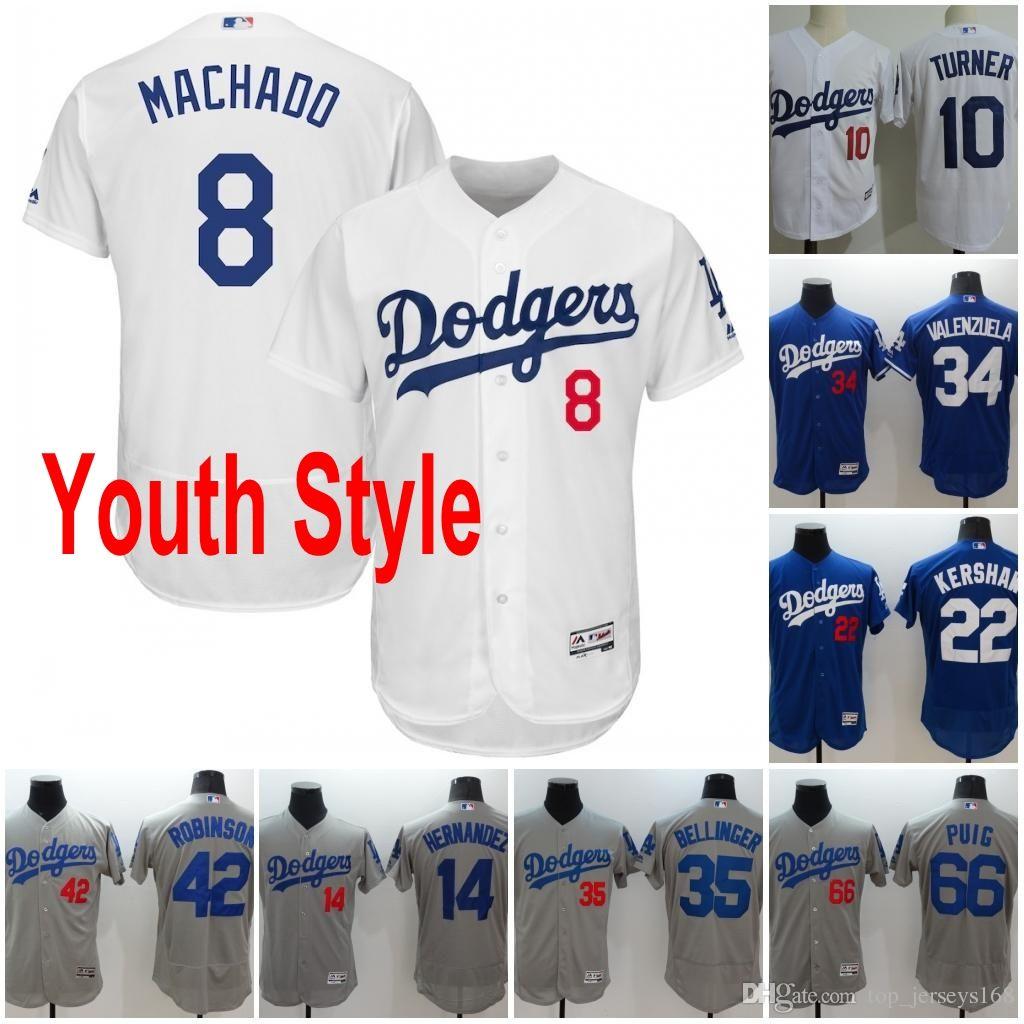 Dodgers Youth Jerseys 8 Manny Machado 14 Hernandez 22 Clayton ... 5433e0c7b3d