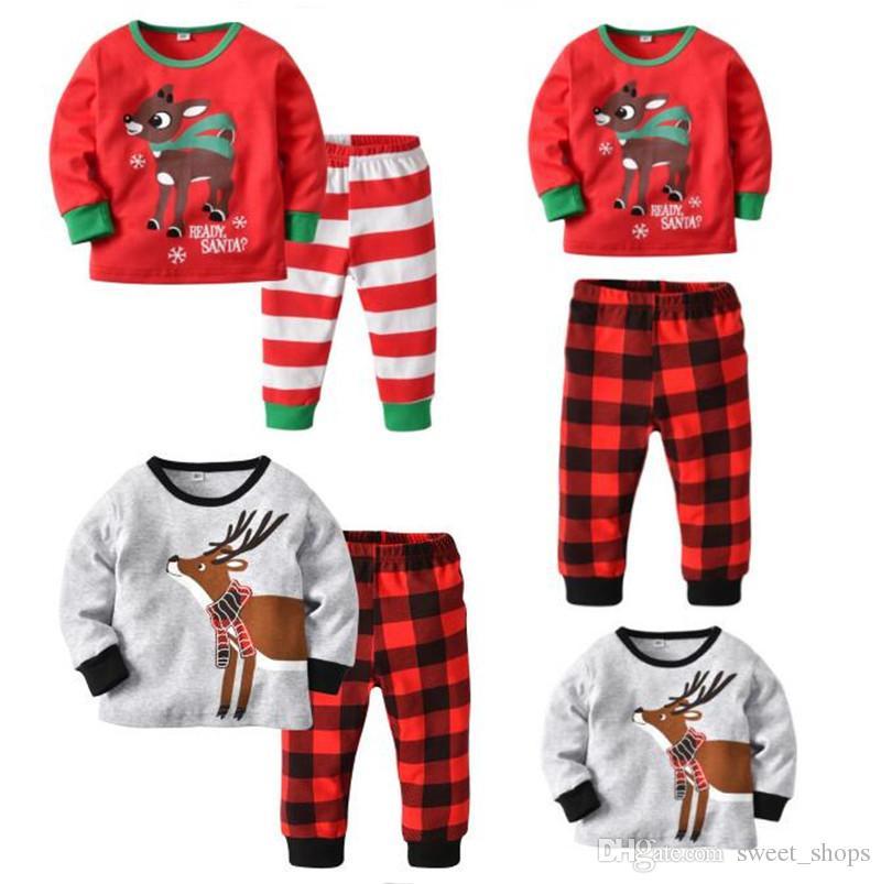 de6b5e984e4ab Acheter Ensemble De Pyjama De Noël Pour Enfants Noel Elk Deer Vêtements De  Nuit Rayés Plaid Vêtements De Nuit Chemise De Lit Enfants Manteau De Nuit  Pyjama ...