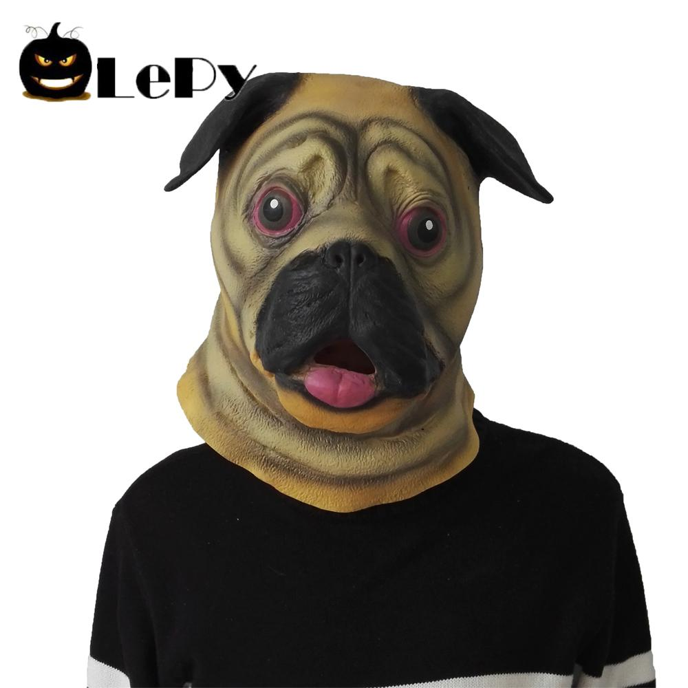 cute pug dog head latex mask full face adult mask breathable halloween masquerade fancy dress party cosplay costume funny face masks costume face masks for
