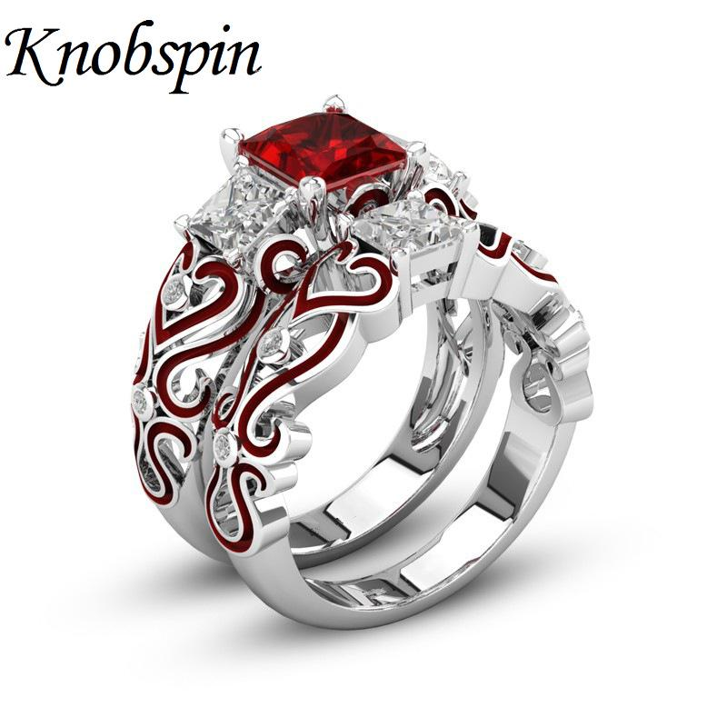 European Square Crystal Engagement Wedding Ring For Women Purple Red