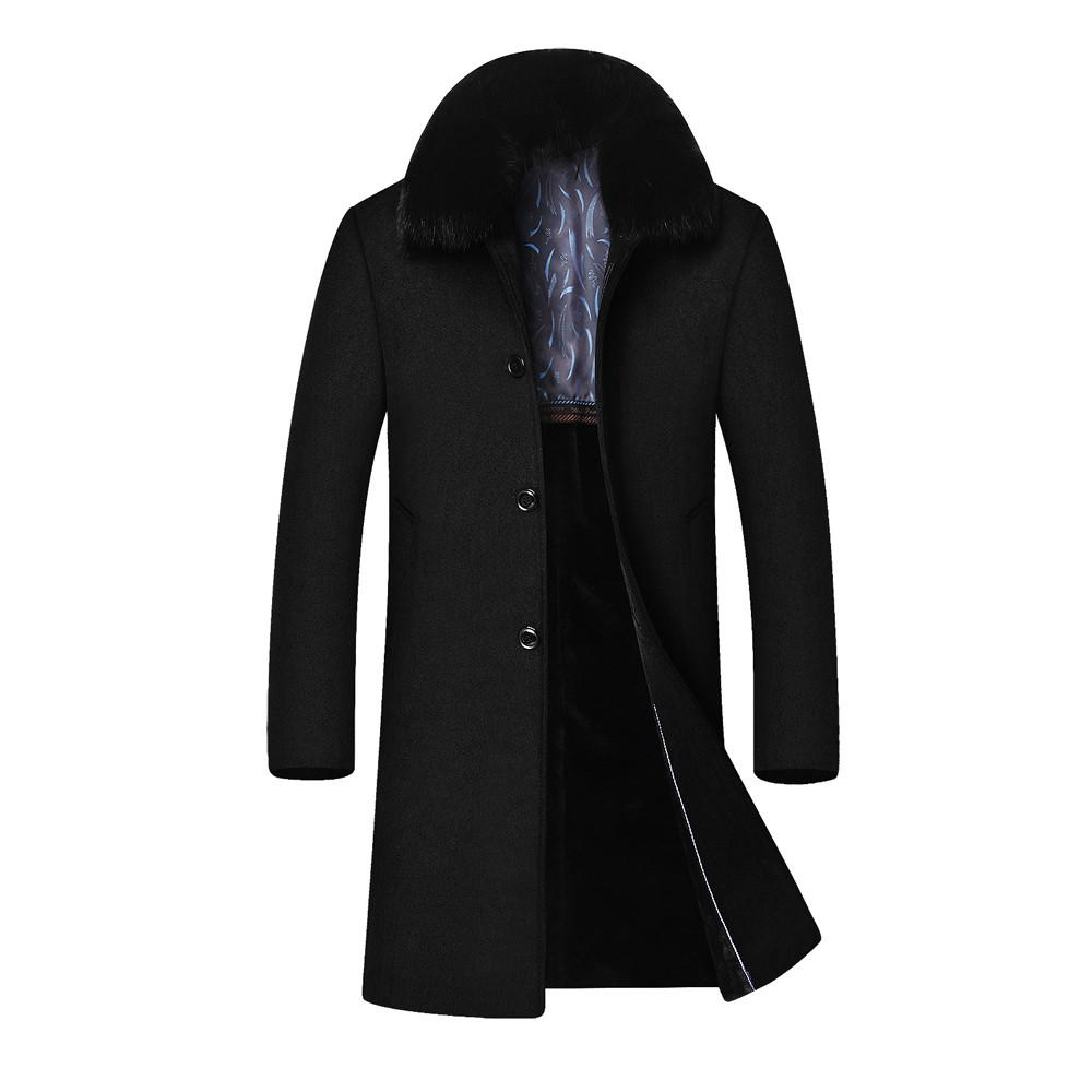 23f6248392b68 2019 Men Autumn Jackets And Coat Men s Winter Casual Long Hair Collar  Cashmere Woollen Cotton Windbreaker Feminino Coats Outwear Wool   Blends  Cheap Wool .