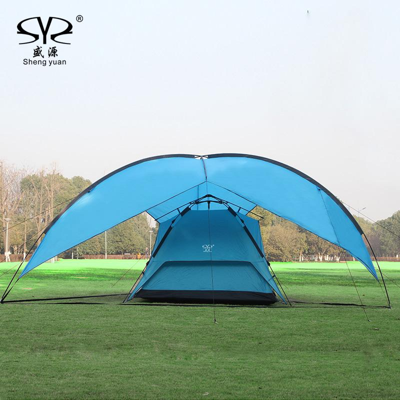 Wholesale- Sun Shelter UV With Poles Waterproof Awning Canopy Beach Tent Beach Shade Tarp Pergola C&ing Picnic Pergola Sunshade Gazebo Sun Shelter ... & Wholesale- Sun Shelter UV With Poles Waterproof Awning Canopy ...