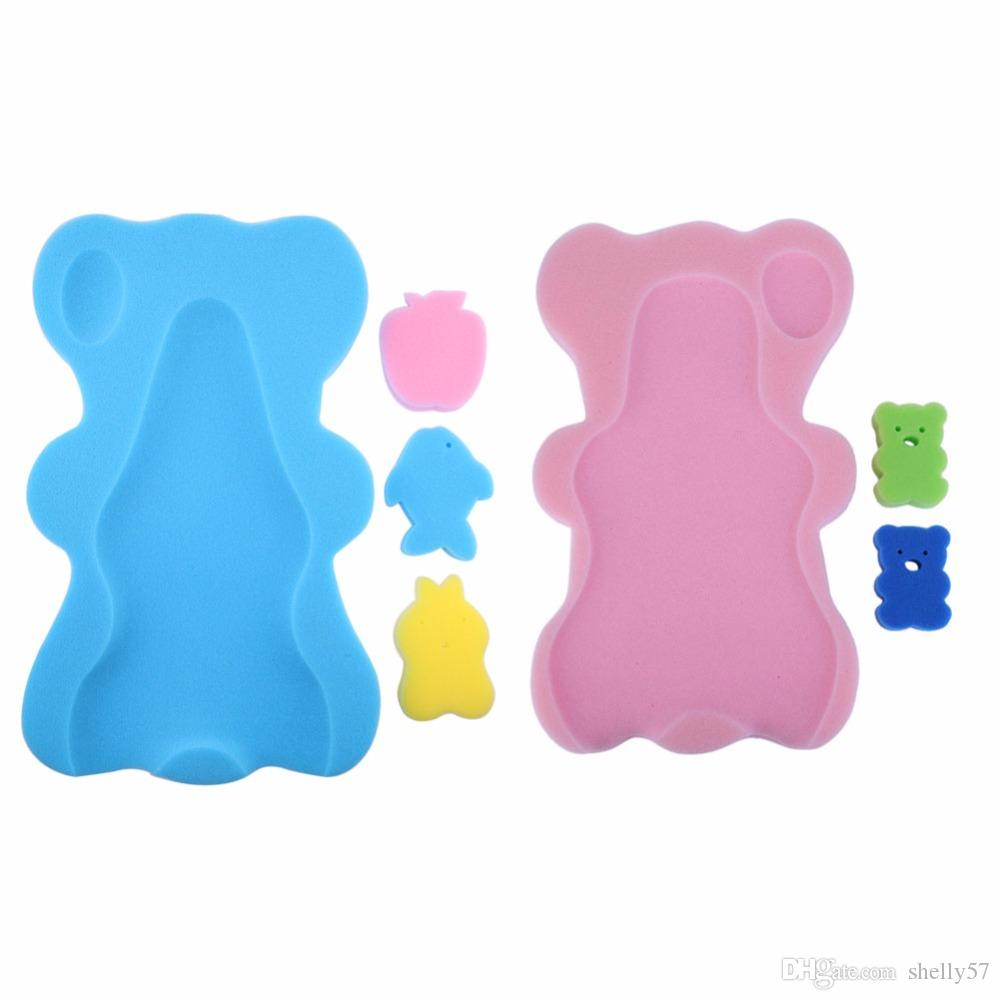 2018 Baby Shower Sponge Cushion Bath Holder Mesh Pocket Newborn Seat ...
