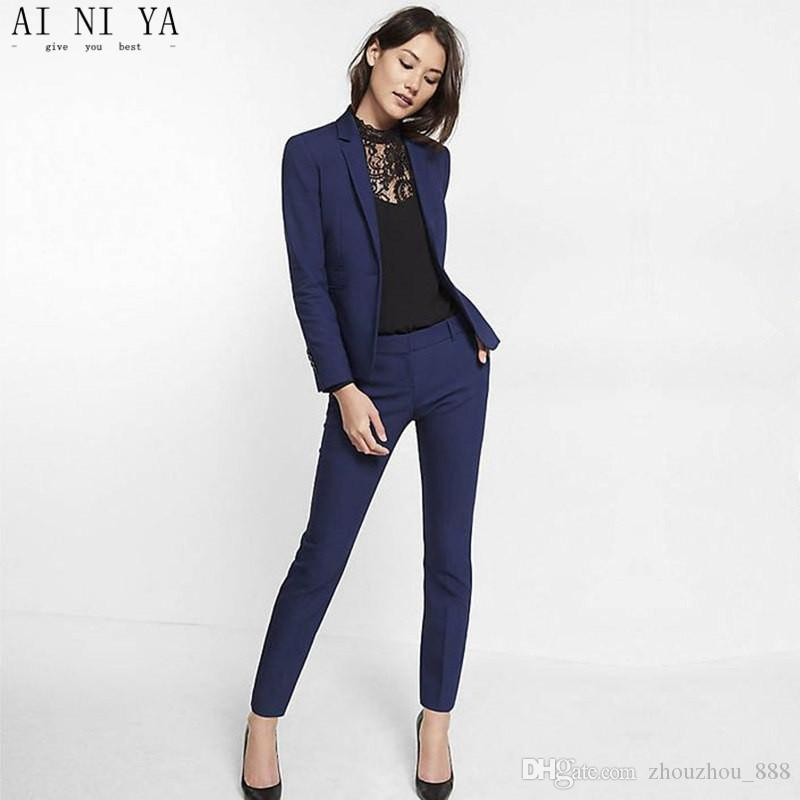 Acheter Slim Bleu Marine Châle Tuxedos Femmes Fit Costume ZOPTukiX