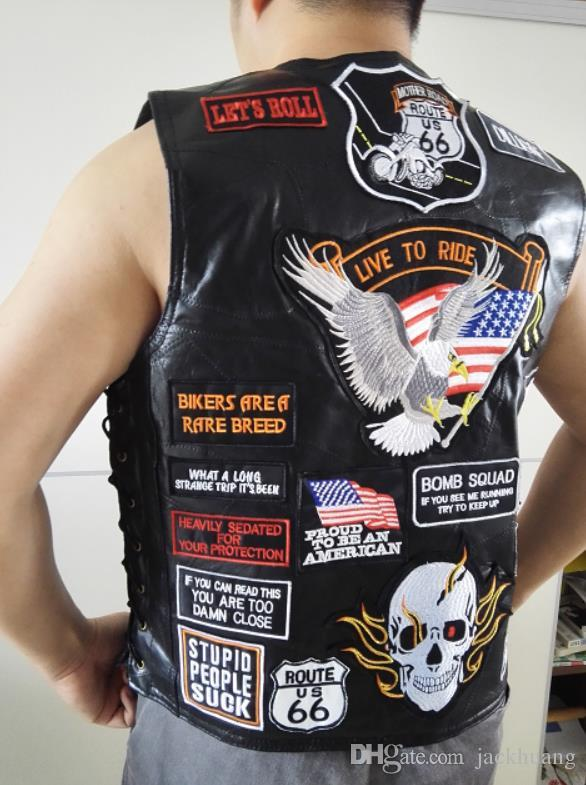 0be5b3e982 Gilet da motociclista in pelle nera da uomo con toppe 42 gilet da  motociclista Eagle Flag S-3XL