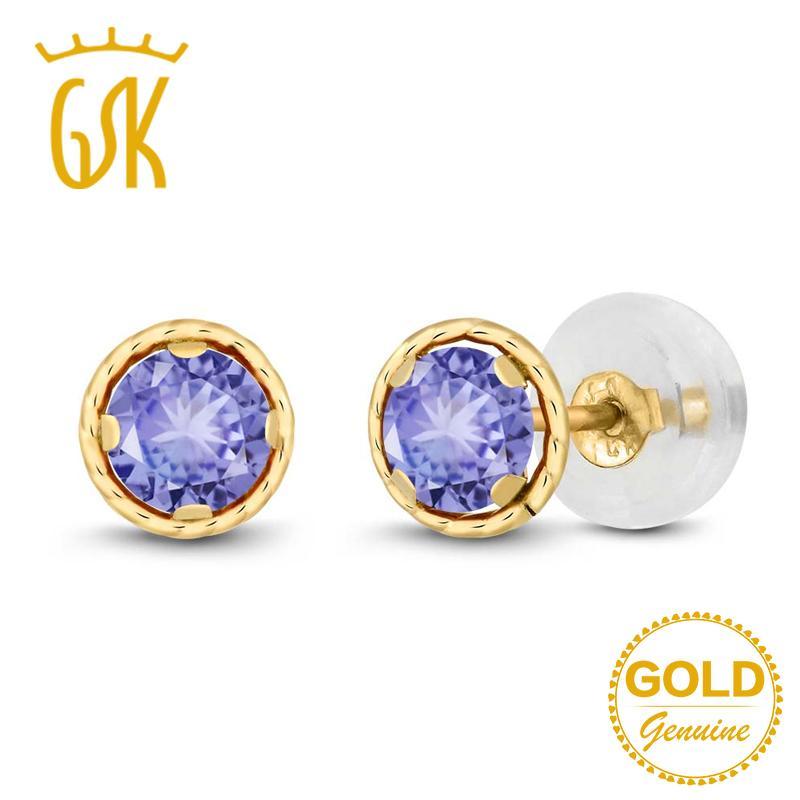 GemStoneKing 0 60 Ct Round 4mm Blue Natural Tanzanite Earrings For Women  Solid 14K Yellow Gold Stud Earrings Fine Jewelry