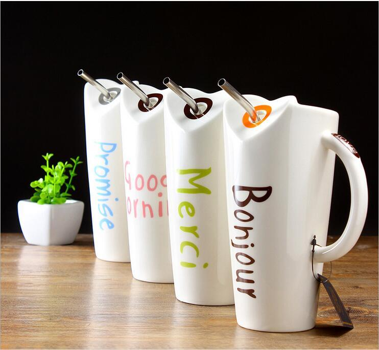 1a63096ff4e Ceramic Cup With Straw Creative Coffee Mug Good Morning Painting Milk Cup  Office Coffee Wedding Gift Glass Coffee Travel Mugs Glass Mugs From  Bowstring
