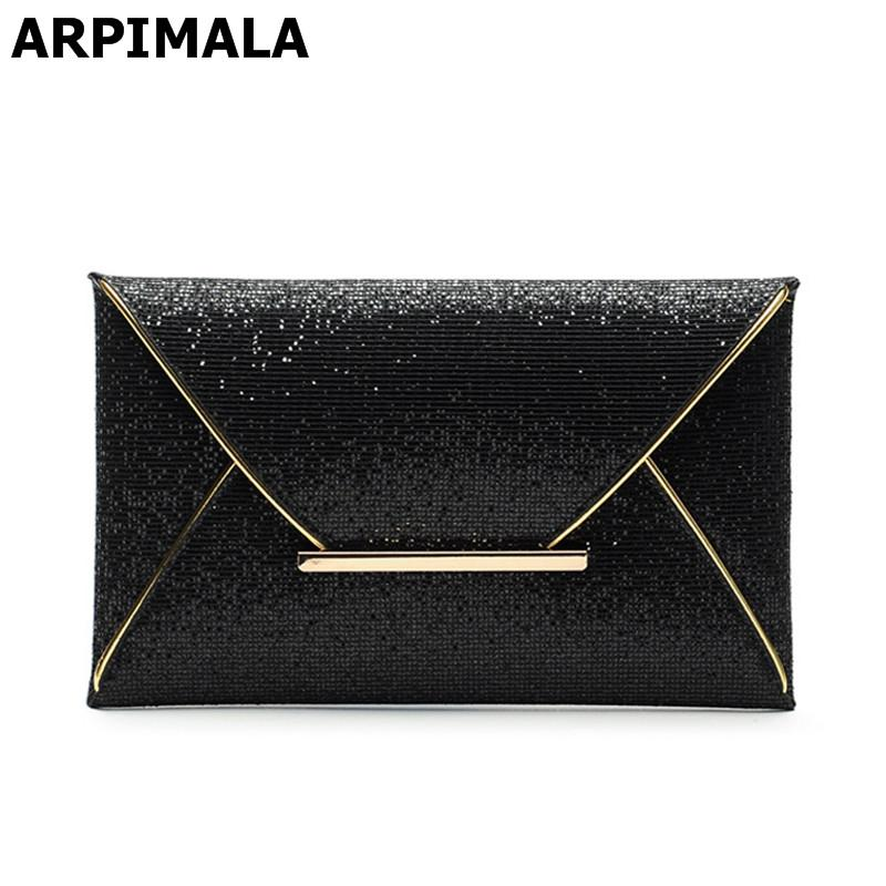 ARPIMALA 2017 Luxury Shiny Envelope Clutch Bag Glitter Ladies Hand Bags  Wedding Bags For Women Evening Party Black Purse Handbag Fashion Handbags  White ... 858f9f9e4184e