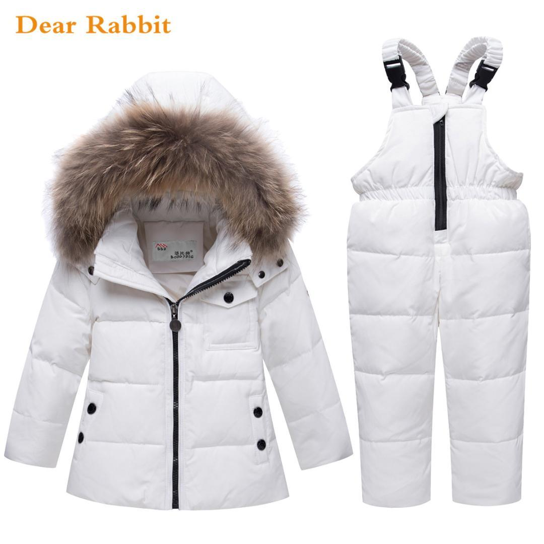 b838a3f3e Parka Real Fur Hooded Boy Baby Overalls Girl Winter Down Jacket Warm ...