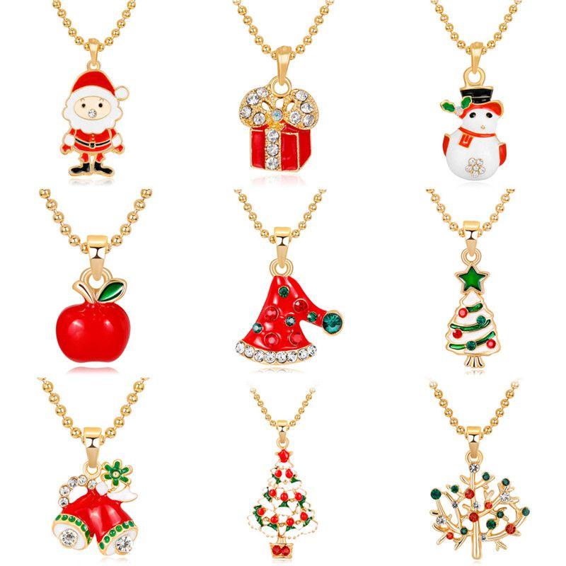 Wholesale 9 Designs Mix Gold Plated Mix Pendants Necklaces For Women  Fashion Christmas Santa Clause Snowman Tree Hats Bell Necklace DB Tanzanite  Pendant ... 3d262ecc4