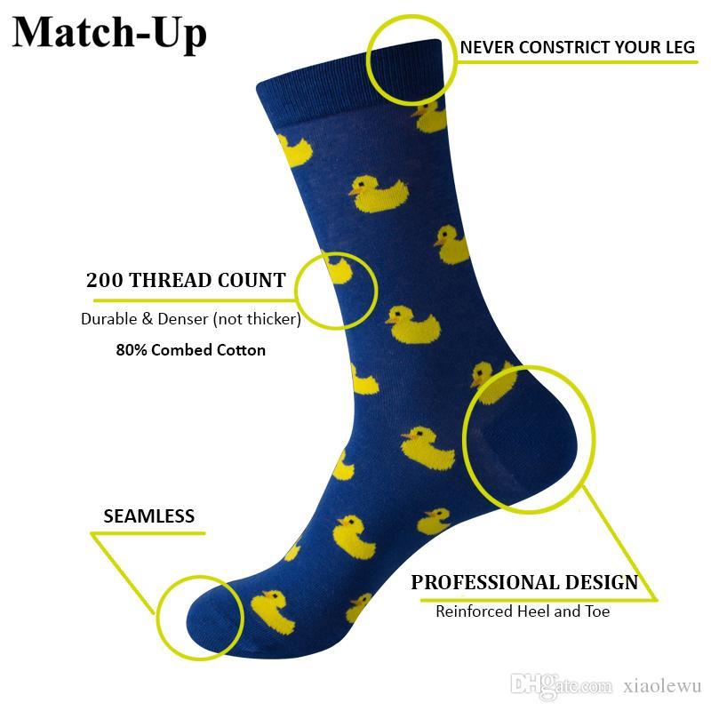 Match-Up Men Cartoon Cotton Socks Art Patterned Casual Crew Socks 5-Pack Shoe Size 6-12