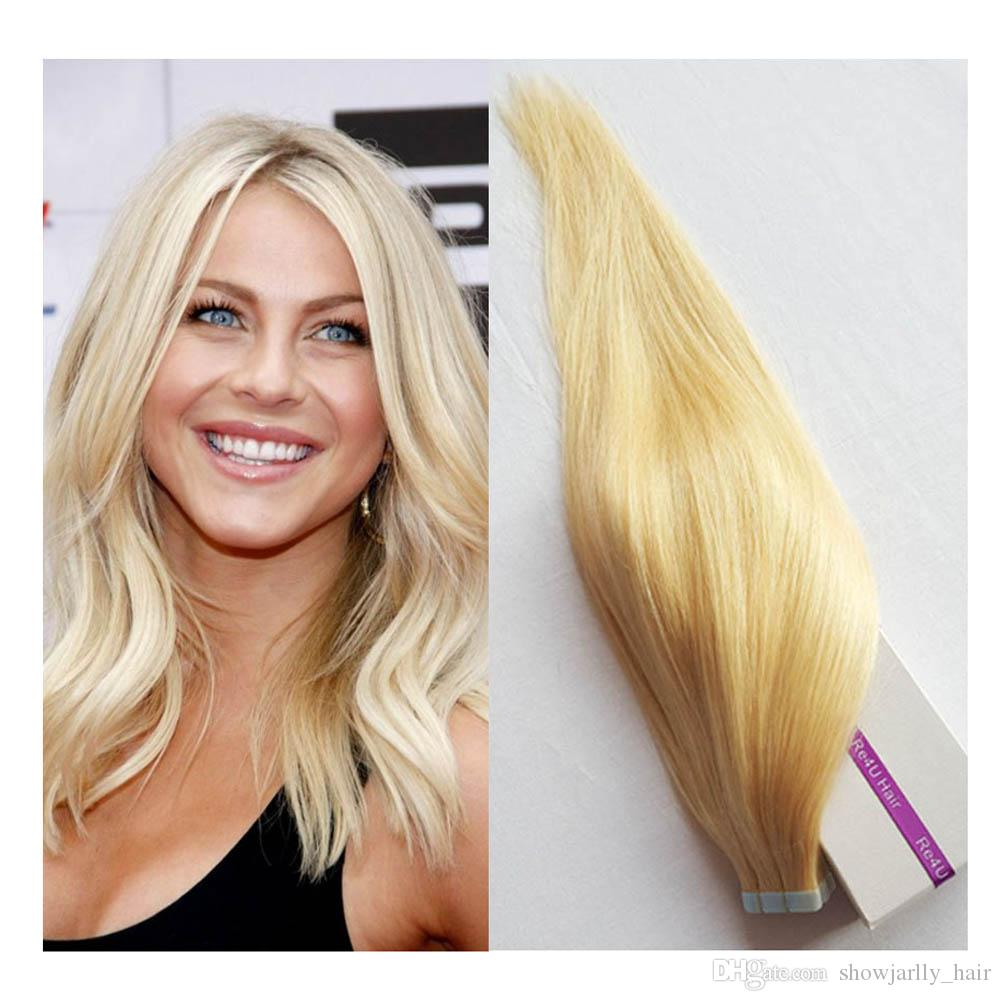 22inch Remy Tape In Hair Extensions Human Hair 50gpk Bleach Blonde