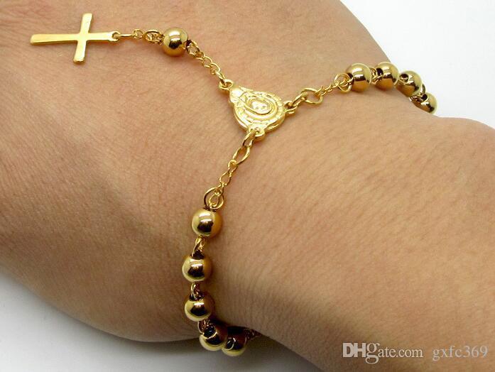 جديد الصلب الكرة الصليب يسوع مطلية بالذهب سوار الأزياء البرية التيتانيوم الصلب الخرز سوار المجوهرات