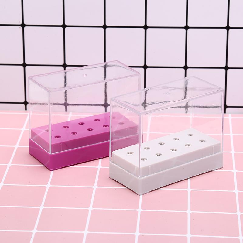 10 Hole Nail Drill Head Bits Organizer Box Holder Manicure Storage ...