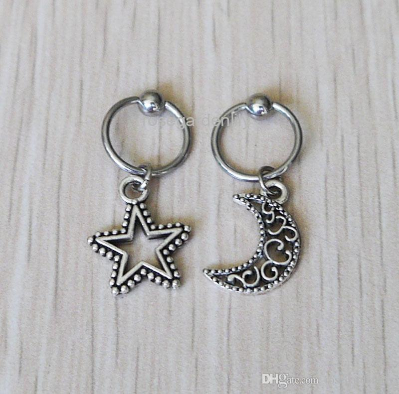 444abd505904f New 2Pcs Stars and the Moon CBR Captive Bead Ring , flowers hoop cartilage  Hoop Earring Tragus Helix Piercing ,earring jewelry